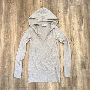 Long Hoodie with V Neck